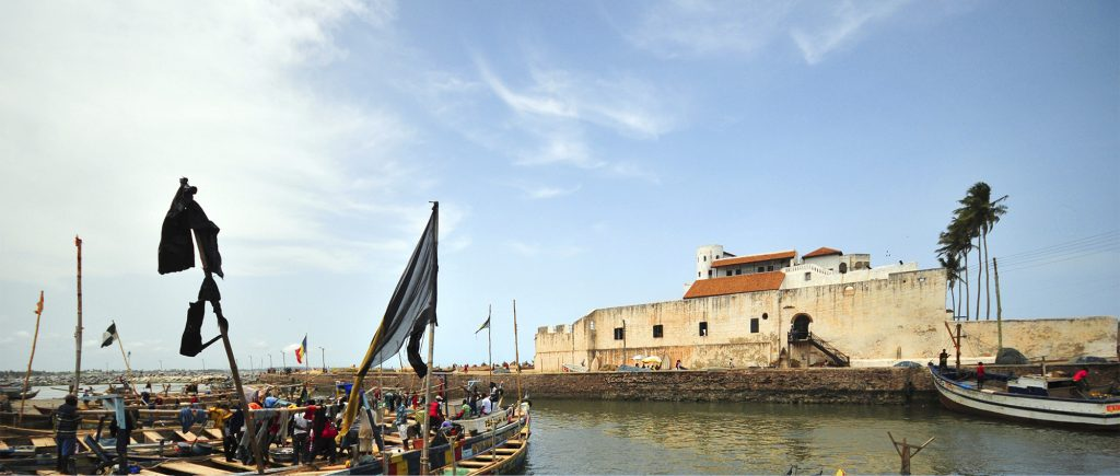 "Elmina, Ghana: Elmina Castle, an old Portuguese fortress - river side and fishing boats - S""o Jorge da Mina castle, Feitoria da Mina, Portuguese Gold Coast - Unesco world heritage site - photo by M.Torres"