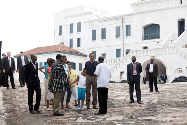 President Barack Obama, First Lady Michelle Obama, daughters Sasha and Malia Obama, Marian Robinson and a friend tour Cape Coast Castle in Ghana on July 11, 2009. (Official White House photo by Pete Souza)