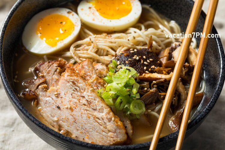 Homemade Japanese Pork Tonkotsu Ramen with Mushrooms and Eggs