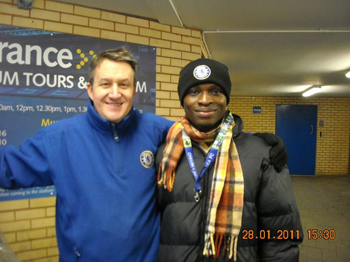 Akesse Sanza with the Tour Guide at the Stamford Bridge
